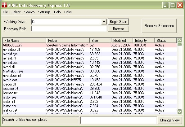 Click to view ADRC Data Recovery Express 1.7 screenshot