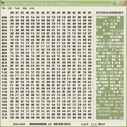 Windows 7 ADRC Hard Disk Hex Editor 1.01 full